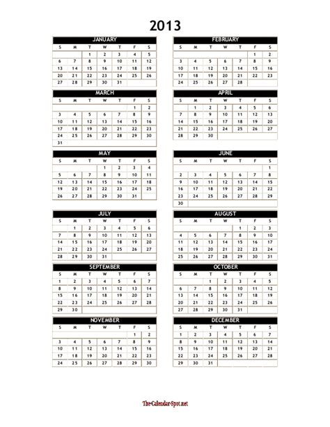 2013 yearly calendar template word one page