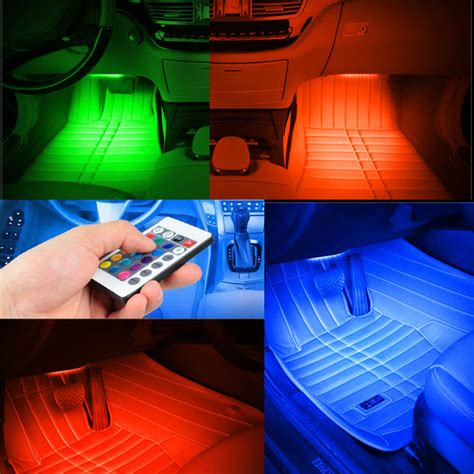Wireless Remote Music Voice Control Car Rgb Led Neon Car Interior Led Light Strips