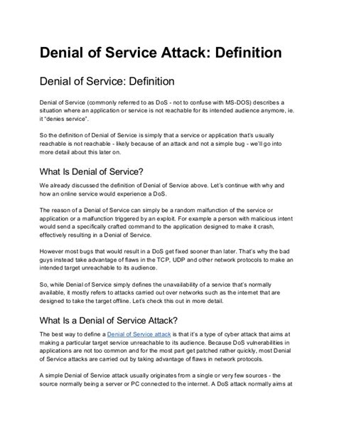 service definition definition of service attack