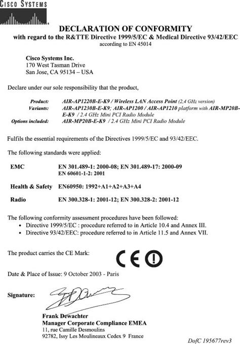 ce certificate of conformity template cisco aironet 1200 series access point hardware