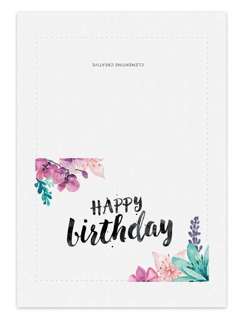 Print Out Birthday Card Printable Birthday Card For Her Clementine Creative