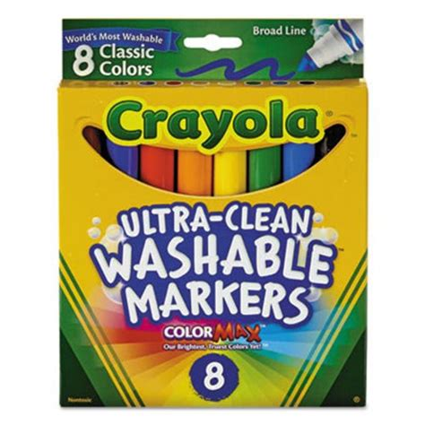 Crayola Broad Point Washable Markers 8 Markers Classic Colors crayola washable markers broad point classic colors 8