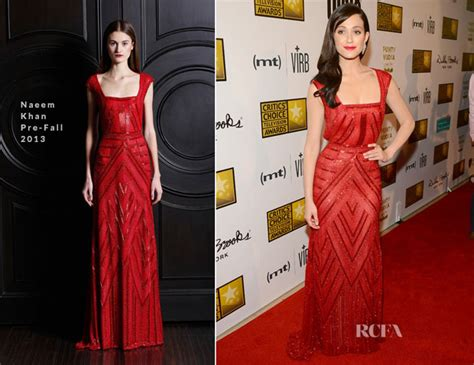 Catwalk To Carpet Emmy Rossum by Emmy Rossum In Naeem Khan 2013 Critics Choice