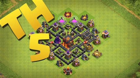 clash of clans town hall 5 defense best coc th5 hybrid base layout clash of clans new best town hall 5 defense strategy