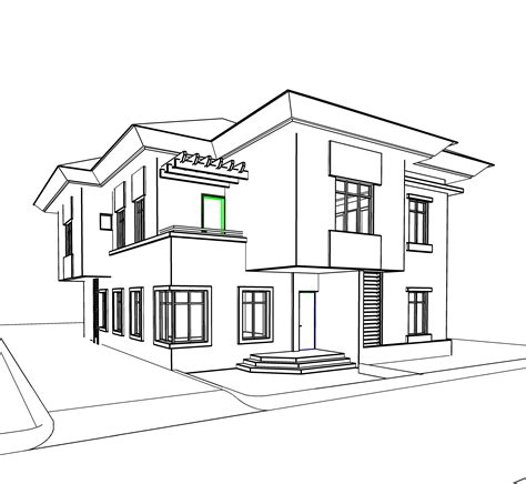 home sketch sketch villa duplex residential house project concept