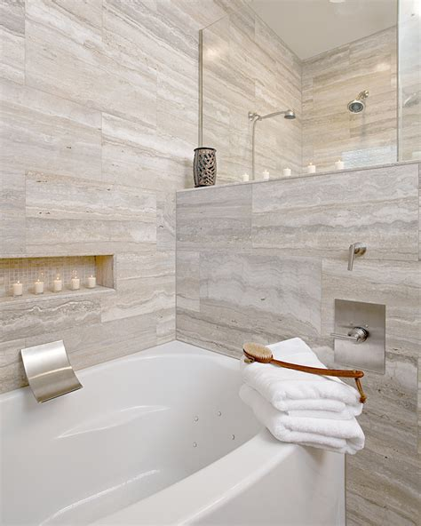 vein cut travertine Bathroom Contemporary with custom shower natural stone   beeyoutifullife.com