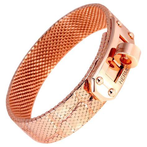 Hermes Hm022 Rosegold hermes gold bracelet for sale at 1stdibs
