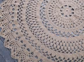 made large crochet cotton doily rug in 60