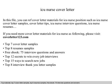Icu Resume Cover Letter Icu Cover Letter