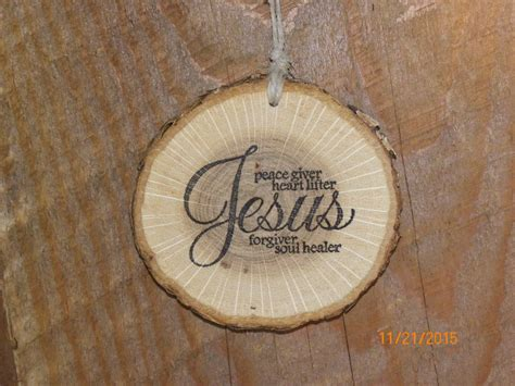 christian home decor store wood slice ornament rustic christmas home decor jesus