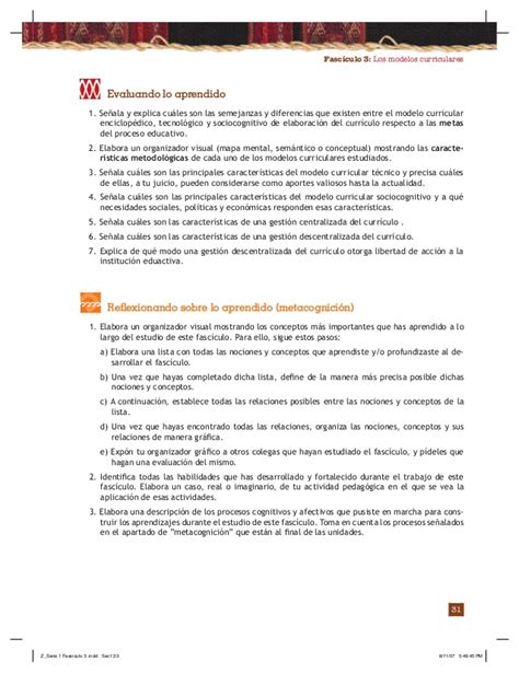 Modelo Curricular Sociocognitivo Fasciculo 3 Los Modelos Curriculares