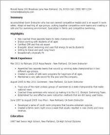 Swim Coach Sle Resume by Professional Swim Instructor Templates To Showcase Your Talent Myperfectresume
