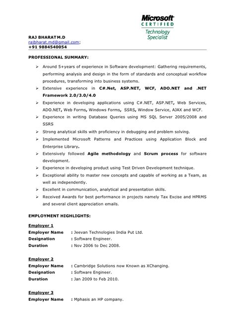 sle resume for asp net developer fresher sle dot net resume for experienced net experience