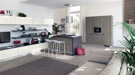 modern kitchen and living room space   Interior Design Ideas.