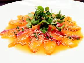 Top Shots Bar Lime And Ponzu Dressed Salmon Carpaccio Serves 2 People