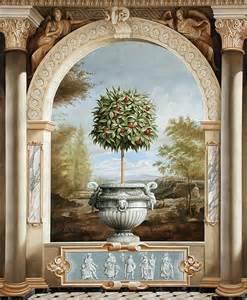 trompe l oeil wall murals trompe l oeil topiary urn arch landscape background art