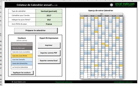 Calendrier Civil 2017 Calendrier 2017 Excel Modifiable Et Gratuit Excel Malin