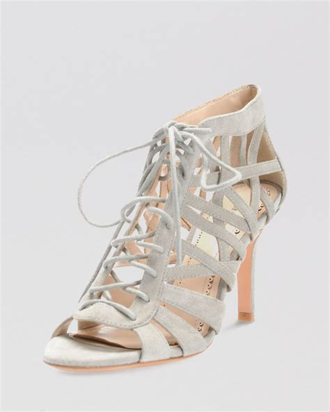 high heel lace up pour la victoire open toe lace up sandals charlize high