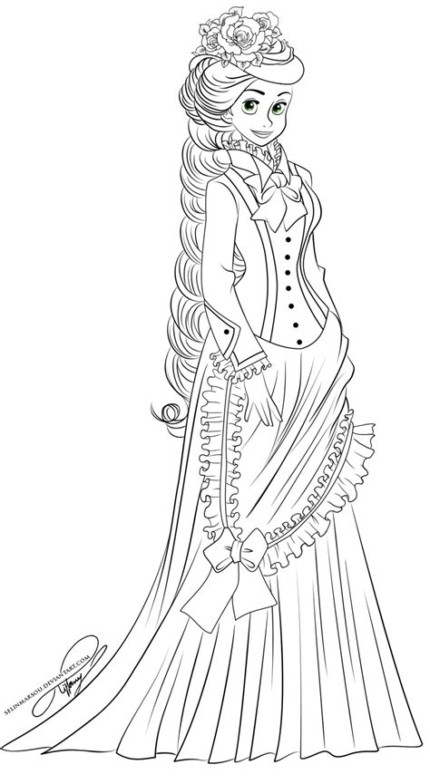 lineart vintage princess rapunzel by selinmarsou on