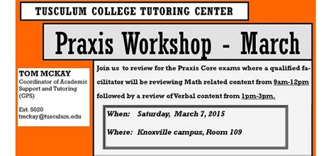 Tusculum Mba Review praxis workshop knoxville garland library