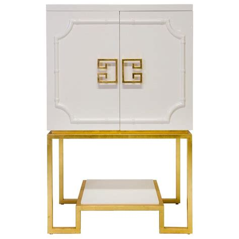 White Bar Cabinet Worlds Away Gold Trim White Cabinet
