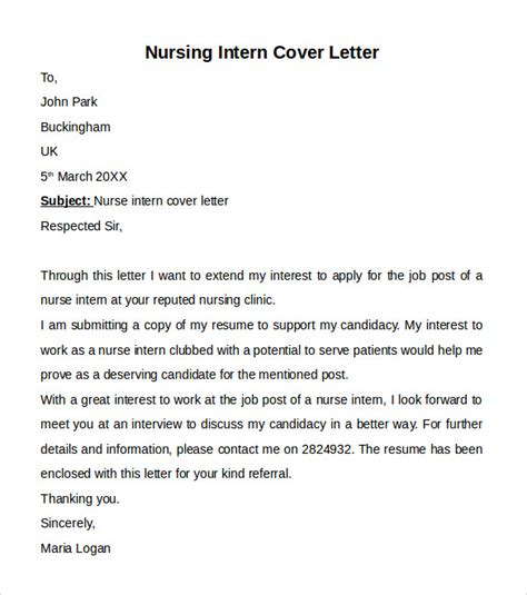 Nursing Cover Letter Template   9  Free Samples, Examples