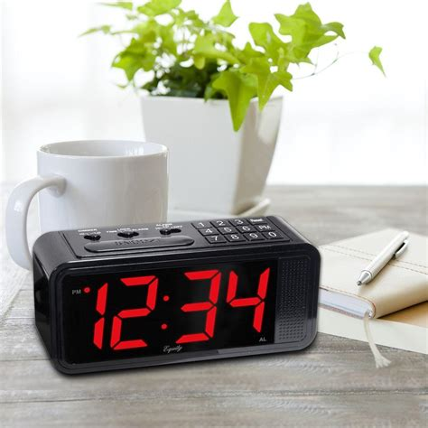 equity by la crosse 1 8 in led set electric alarm table clock with hi lo dimmer 75907