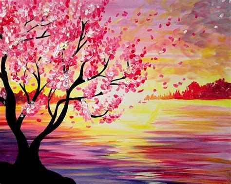 pink flowering tree and orange pink sunset painti
