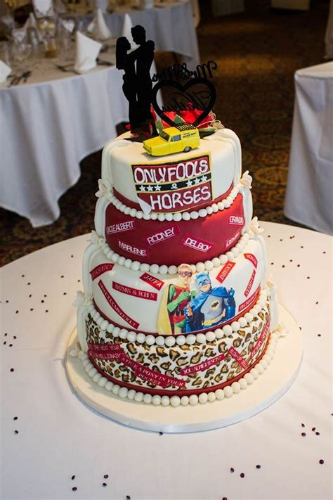 half and half wedding cake only fools and horses theme traditional cakes