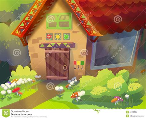 Fairytale Cottage House Plans by Granny S House In The Forest Drawn In Cartoon Style Stock