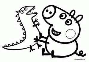 colorear george su dinosaurio peppa pig dibujo colorear gratis