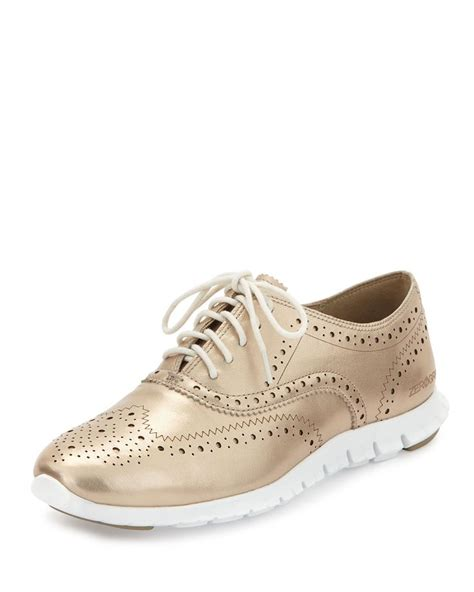 metallic oxford shoes womens zerogrand metallic wing tip oxford sneaker gold metallic