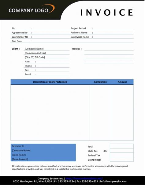 contractor invoice template excel invoice exle