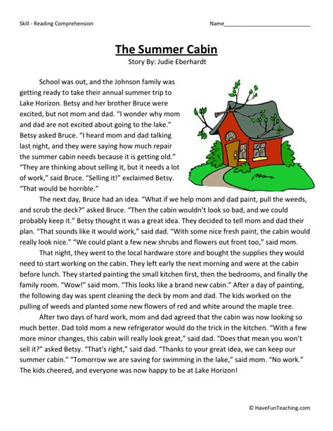 College Level Reading Comprehension Worksheets by Reading Comprehension Worksheet The Summer Cabin