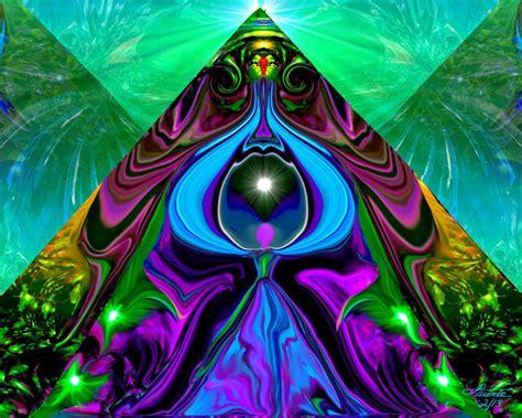 pyramid art  eye abstract angel print reiki
