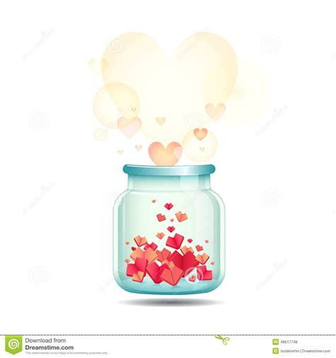 boat in a jar drawing happy valentine s day with jar of paper hearts stock
