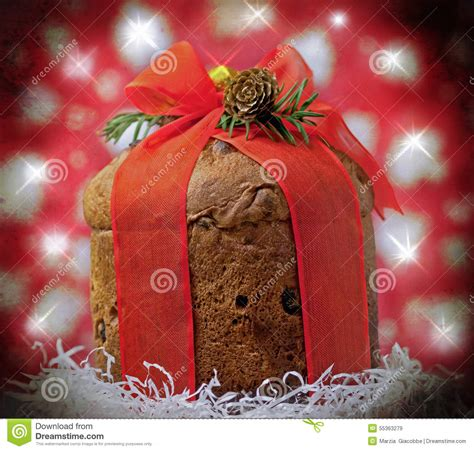 panettone cake with christmas decorations stock photo