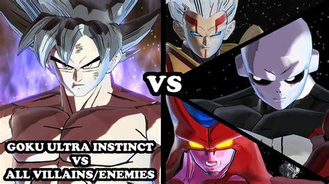 kaos goku vs enemy goku ultra instinct vs all villains enemies db