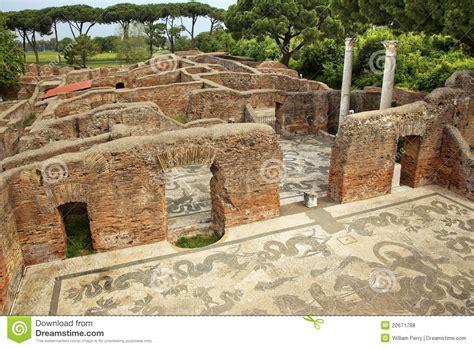 Ancient L by Ancient Baths Mosaic Ostia Antica Rome Stock Photo