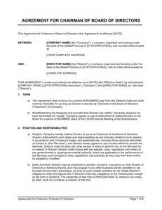 Board Member Termination Letter by Agreement For Chairman Of Board Of Directors Template