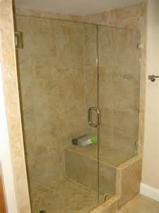 seamless shower doors seamless inline enclosures with seats and pony walls