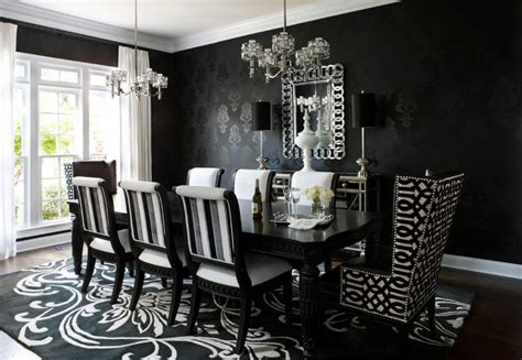 Black And White Dining Room Ideas Furniture Dining Room Beauteous Dining Room Decoration Ideas Oval High Gloss Black And White