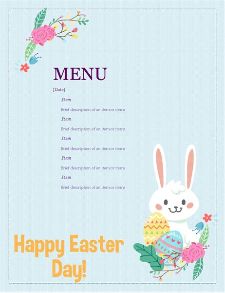 easter party menu office templates