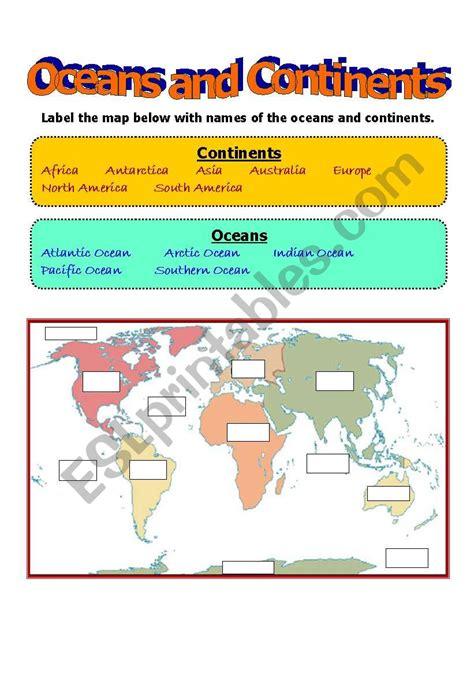 oceans  continents esl worksheet  fayefaye