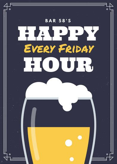happy hour sign template restaurant flyer templates canva