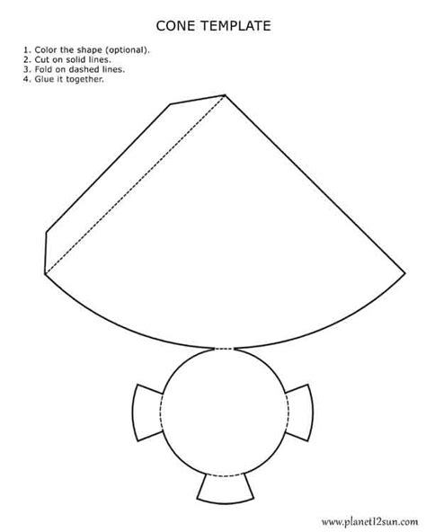 How To Make A Cone Shape Out Of Construction Paper - printable 3d cone template color it cut it out fold it