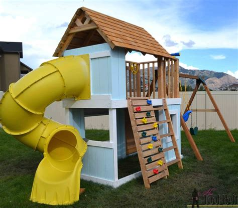 wooden playhouse with swing diy clubhouse play set her tool belt