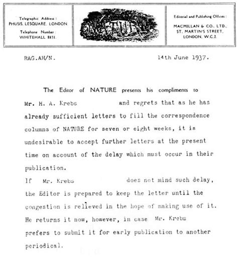 Response Letter Scientific Article Nature Rejects Krebs S Paper 1937 The Scientist Magazine 174
