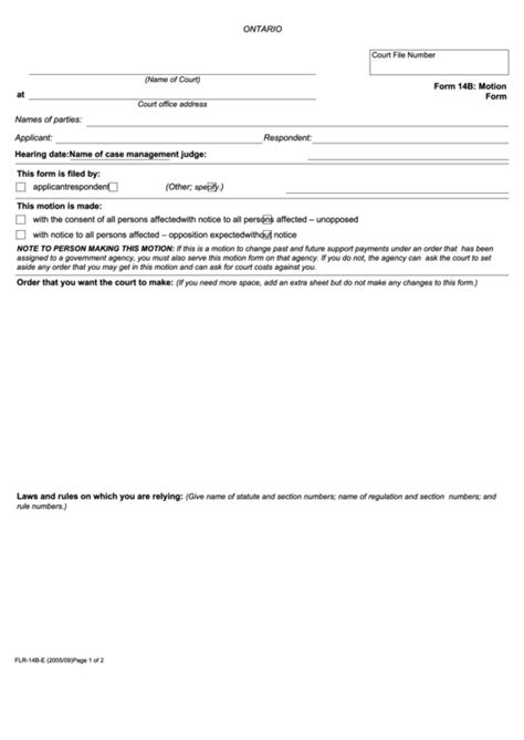 fillable form  motion form ontario printable