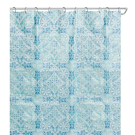70 inch curtains morocco 70 inch x 72 inch peva shower curtain in blue
